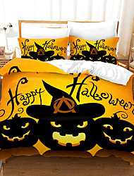 cheap -Halloween Duvet Cover Set, Happy Halloween Greetings Pumpkins Skull Bones Bats Pennant Image, Decorative 2/3 Piece Bedding Set with 1 or 2 Pillow Shams, Queen King Size, Orange