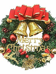 cheap -13 inch pine artificial christmas wreath, garland with bowknot, bells, deer, red berries, flower gifts for christmas party decor, front door wreath (red)