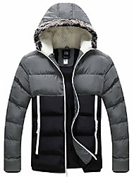 cheap -men's winter outerwear jacket hooded thick quilted cotton coat(black+grey,large)