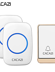cheap -CACAZI Self-powered Wireless Doorbell Waterproof No battery 38 Chimes Cordless DoorBell 1 Button 2 Receiver
