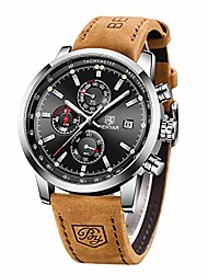 cheap -benyar waterproof quartz men watch, fashionable chronograph analog water-resistant business brown leather watches