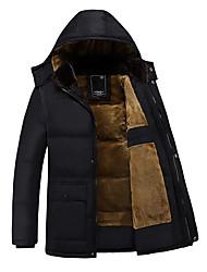 cheap -Men's Padded Parka Plus Size Solid Colored Poly&Cotton Blend Black M / L / XL
