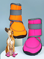 cheap -waterproof dog shoes fluorescent orange dog boots adjustable straps and rugged anti-slip sole paw protectors for all weather comfortable easy to wear suitable for large dog