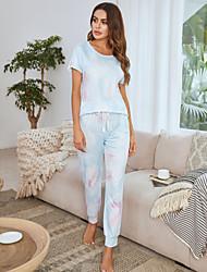 cheap -Women's Home Polyester Loungewear Drawstring Tie Dye S Green