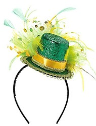 cheap -st. patrick's day feathered top hat headband , party accessory