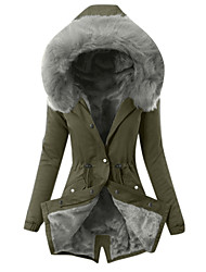 cheap -Womens Hooded Fleece Line Coats Parkas Faux Fur Jackets with PocketsS M L XL