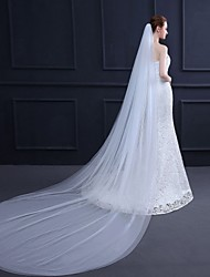 cheap -Two-tier Classic Style / Basic Wedding Veil Cathedral Veils with Solid 118.11 in (300cm) Tulle