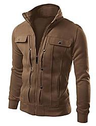 cheap -Men's Hunting Hooded Sweatshirt Solid Color Stand Collar Chic & Modern Vintage Hoodies Sweatshirts  Long Sleeve White Light Gray Black