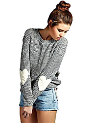 cheap -women's heart patchwork elbow crewneck marled knitted pullover sweater grey