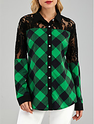 cheap -Women's Work Blouse Shirt Color Block Long Sleeve Lace Patchwork Shirt Collar Tops Vintage Basic Top Green