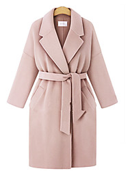 cheap -Women's Solid Colored Active Fall & Winter Coat Long Daily Long Sleeve Wool Coat Tops Blushing Pink