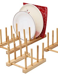 cheap -Kitchen Bamboo Dish Storage Holder Drainer Rack for Plate Bowl and  Cup