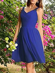 cheap -A-Line V Neck Knee Length Chiffon Bridesmaid Dress with Pleats