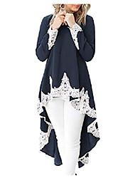 cheap -womens blouses and tops lace crochet long sleeve asymmetric high low club shirt dress xl navy