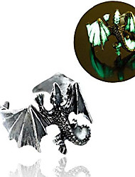 cheap -18mm adjustable vintage glow in the dark luminous dragon rings for men women rings (antique silver yellow and green)