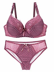 cheap -Women's Polka Dots Push-up 3/4 cup Bra & Panty Set Solid Color Wine Red Gray purple Please contact customer service / Sexy