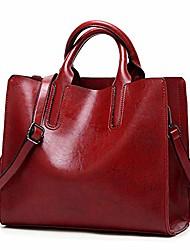 cheap -women leather handbags big casual trunk tote shoulder bag ladies large purse - burgundy