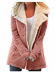 cheap -composite plush button coat women plus size winter warm composite plush button lapels jacket outwearcoat pink