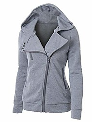cheap -women's thermal long hoodie zip up jacket hooded warm coat casual jackets dark grey