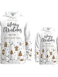 cheap -Daddy and Me Active Santa Claus Graphic 3D Print Animal Print Long Sleeve Regular Hoodie & Sweatshirt White