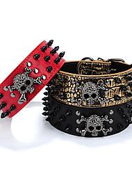 cheap -Dog Collar Portable Skull PU Leather Medium Dog Large Dog Black Red Gold