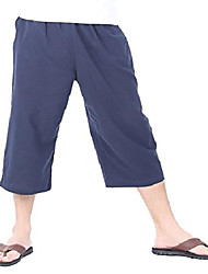cheap -men's elastic waist cotton loose comfort casual lounge capri pants (xl/xxl, navy blue)