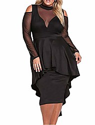 cheap -women's sexy sheer mesh evening gowns plus size peplum high-low bodycon party dress, black, xx-large