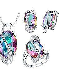 cheap -women anniversary engagement jewelry ring set with rainbow stone, platinum plated earrings studs pendant necklace jewlery set for women mom friend birthday gift t472