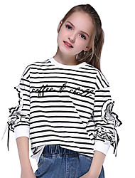cheap -Kids Girls' Active Streetwear Striped Lace Bow Lace Trims Long Sleeve Tee Black