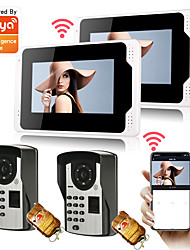 cheap -7 WiFi Tuya APP Wired Monitor Video Door Phone System 1080P Camera with Multi-languages Fingerprint Password Unlock Remote Phone Control Motion Recording