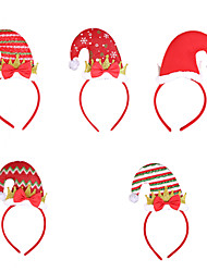 cheap -Christmas Toys Hair Band Photo Booth Props Christmas Hat Decoration Party Favors Plastic 5 pcs Kid's Adults 16cm*18cm*0.3cm Christmas Party Favors Supplies / Random Color