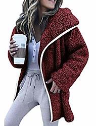 cheap -women long sleeve plush jacket warm wool hooded coat down wine red