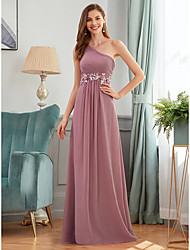 cheap -A-Line One Shoulder Floor Length Chiffon Bridesmaid Dress with Appliques