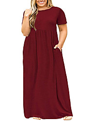 cheap -Women's Swing Dress Maxi long Dress - Short Sleeve Solid Color Ruched Pocket Patchwork Summer Plus Size Casual Chiffon Slim 2020 Purple Wine Navy Blue L XL XXL 3XL 4XL 5XL