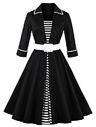 cheap -50s retro dresses, vintage 3/4 sleeve, audrey retro belted, women (medium, 1556z-black)