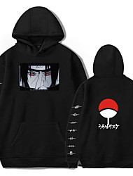 cheap -Inspired by Naruto Cosplay Akatsuki Uchiha Itachi Hoodie Polyester / Cotton Blend Print Printing Hoodie For Women's / Men's
