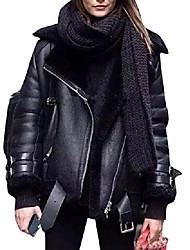cheap -warm lapel faux fur lined pu faux leather moto biker coat jacket black xs