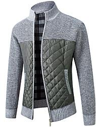 cheap -Men's Unisex Cardigan Full Zip Zipper Front Zip Color Block Stylish Sweaters Long Sleeve Sweater Cardigans Stand Collar Fall Winter Light gray Black Dark Gray / Machine wash / Medium / Holiday