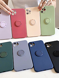 cheap -Case For Apple iPhone 12 / iPhone 12 Mini / iPhone 12 Pro Max Shockproof / Ring Holder Back Cover Solid Colored Silicone