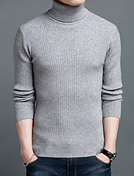 cheap -Men's Pullover Knitted Braided Striped Solid Color Basic Acrylic Fibers Long Sleeve Sweater Cardigans Turtleneck Fall Winter Wine Gray Camel