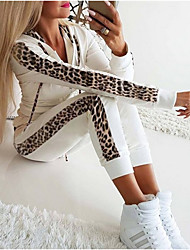 cheap -Women's Basic Leopard Causal Daily Two Piece Set Hoodie Tracksuit Pant Loungewear Jogger Pants Drawstring Patchwork Tops