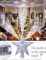 cheap -OurWarm Star Christmas Tree Topper LED Star Top Snowflake Projector Christmas Tree Decor Holiday XMAS Party Hanging Ornament