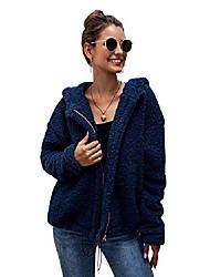 povoljno -ženski kaput povremeni modni flis s kapuljačom, mutni umjetni šikari čupavi kaputi patentni zatvarač topla zima duge jakne dugih rukava (kraljevsko plave, srednje)