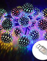 cheap -Outdoor Christmas Lights Strand Metal Moroccan Lighting 10-50 LEDs Waterproof Rope Lights AA Battery Box or USB Powered String Lights  for Garden Wedding PartyIndoor Christmas DC5V