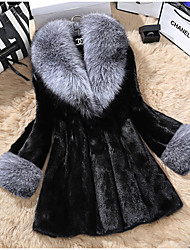cheap -Long Sleeve Coats / Jackets Faux Fur Party / Evening Women's Wrap With Fur