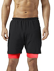 cheap -men's 2-in-1 running workout training basketball athletic shorts (black, m)