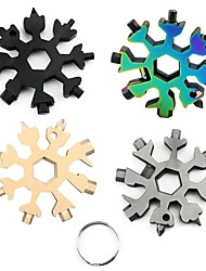 cheap -18 in 1 Snowflake Spanner Keyring Hex Multifunction Outdoor Hike Wrench Key Ring Multipurpose Camp Survive Hand Hexagonal Tools