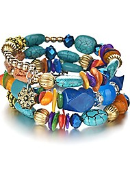 cheap -boho multilayer irregular agate beads charm bracelets for women vintage jade stone man bracelets yoga bangles ethnic jewelry (colorful)