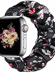 cheap -compatible with apple watch 5 band 40mm women series 6/5/4/se, soft floral elastic iwatch scrunchie bands 38mm for apple watch series 3/2/1, black/red flower l
