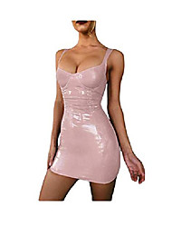 cheap -sequined tight dress, strap sequin dress, low-cut dress, slim party dress, perfect curve (pink, xl)